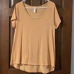 LulaRoe Short Sleeve Gold Top L